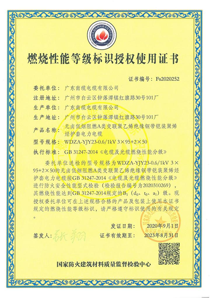 YJY23 B1证书